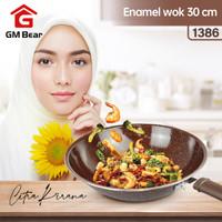 GM Bear Wajan Wok Enamel 30cm 1386 - Wajan Penggorengan Enamel Wok