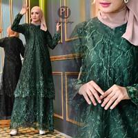 gamis dress wanita/gamis pesta Tille bordir mutiara