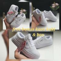 sepatu vans anak full putih tersedia model tali & rekat sneaker anak