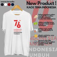 Kaos Pria Distro Tulisan HUT Kemerdekaan Indonesia 76 Tahun Keren Unik