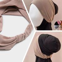 inner ciput bandana karet terlaris daleman kerudung hijab jilbab - Hitam, All Size