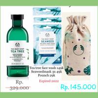 the body shop paket facial wash tea tree dan masker seaweed mask