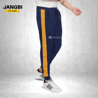 Celana Pria Jogger Joger Pants Baby Terry Biru Dongker Lis Kuning