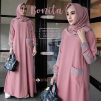 Baju Gamis Wanita Remaja Dewasa Muslim Syari Terbaru Bonita Long Dress