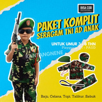 kostum karnaval baju tentara anak laki laki dan perempuan TNI-AD cilik