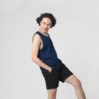 LEMONE Combed Spandek Baju Singlet Kaos Dalam Polos Tanktop Pria - Navy, S