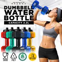 Svarga Dumbbell Water Bottle   Botol Minum Olahraga 2,2 & 2,6 Liter - Hitam, 2.2 LITER