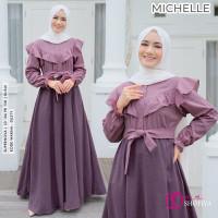 BAJU GAMIS TERBARU WANITA MUSLIM MICHELLE DRESS MUSLIMAH BY SHOFIYA - dusty