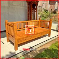 kursi bangku bale bale minimalis kayu jati / sofa bed / kursi santai