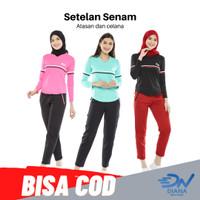Baju Senam Wanita Hijab / Set Senam Wanita Jumbo - Hitam, S