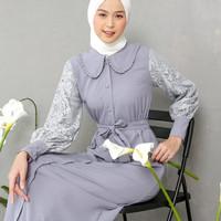 Baju Gamis Syari Wanita Terbaru Andini Maxy Dress Jumbo Murah - Silver