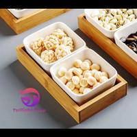 Tempat Set Snack Bumbu Saos Condiments Keramik Kayu