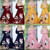 baju gamis anak gamis anak terbaru gambar sablon/tidak termasuk jilbab