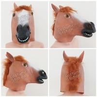 Topeng Kuda / Horse Mask Latex Hewan Binatang Animal Halloween - Coklat Muda