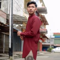 Baju Kemeja Koko Pria Kurta Polos Pakistan Muslim Merah Maroon