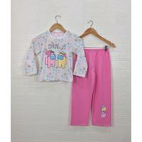Setelan Baju Tidur Santai Anak Perempuan Motif AMG Us Edition - AMG Bintang, Size 8