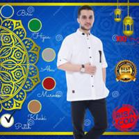 Baju Busana Kemeja Kurta Koko Muslim Dzaki Cowok Laki Laki Pria - Putih, S