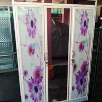 lemari pakaian aluminium 3 pintu kaca printing