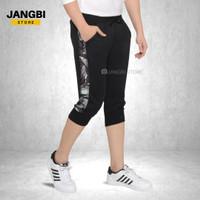 Celana Jogger Olahraga Pendek Pria 3/4 Hitam Lis Army Abu - M/L (One Size)