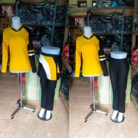 setelan baju senam rok bisa dilepas bahan denim spandex katun - M