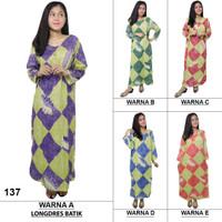 Longdres Batik, Daster Lengan Panjang, Baju Tidur, Kerut, LPT001-08