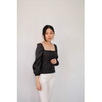 T-008 Cherrie Top Baju Korea Wanita - Black
