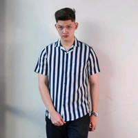Baju Kemeja Pria Stripes Motif Garis Casual Premium Kekinian - Navy White, M