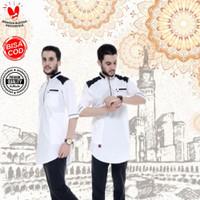 Baju Busana Kemeja Koko Kurta Muslim Ghazi Cowok Laki Laki Pria Premiu - Putih, S