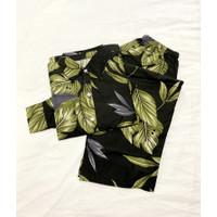Set Piyama Katun Lengan Panjang Celana Panjang Motif Cakep - Leaf Hitam
