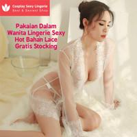 Pakaian Dalam Wanita Lingerie Sexy Hot Bahan Lace Gratis Stocking Sexy