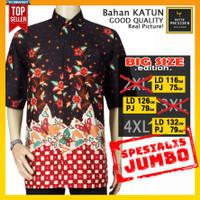 Baju Batik Pria Lengan Pendek Ukuran JUMBO Big Size XXL XXXL XXXXL - XXXXL
