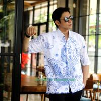 Merak Putih Kemeja Batik Pria Lengan Pendek Atasan Batik By Asmara