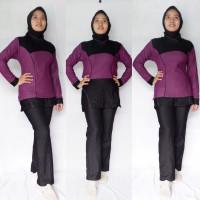 stelan baju senam wanita celana rok ungu bahan denim spandex katun