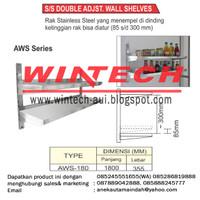 AWS-180 SS DOUBLE ADJUSTABLE WALL SHELF / RAK DINDING STAINLESS