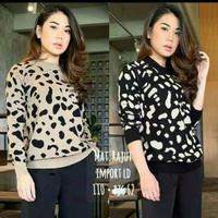 Atasan rajut wanita motif macan leopard/blus rajut real pict - mocca, All Size
