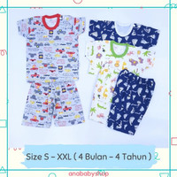 3 stel setelan baju celana pendek anak bayi laki laki 3 6 12 24 bulan