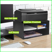 Printer Stand Rak Printer Dudukan Printer Meja Kantor Kayu Jati Solid - Natural