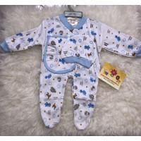 Baju Kodok Bayi Baby Tutup Kaki Panjang Set Hanger Topi Unisex Murah - Biru Muda