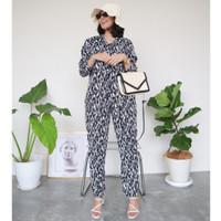 KAIAHATI - Sofia Abstract Monochrome Long Pyjama - L-XL