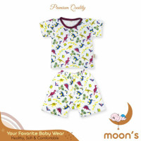 Baju setelan anak oblong premium moons - Dino, S