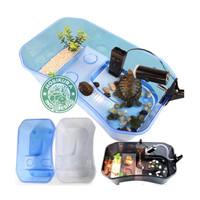 Turtle Tank Medium 40 x 24 x 13 cm/ Aquarium Box Ember Tempat Kura Air - Biru
