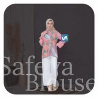 Blouse Batik Wanita Safeya | Baju Kerja Kuliah | Ready Size M L XL - Pink, M