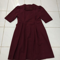 baju wanita ibu hamil kerja merah marun polos pakaian kantor resmi