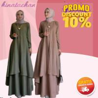 Gamis / Baju Gamis Wanita Terbaru / Aluna Dress Muslim Polos Moderen - army