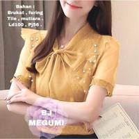 Baju Atasan Wanita Terbaru Top Megumi Bahan Brukat Tile FURING - Mustard