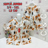 Baju Tidur Piyama Set Celana 3/4,Ld.130,Super Jumbo 5XL,Katun Mikro.