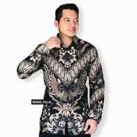 Baju Kemeja Hem Atasan Batik Pria Lengan Panjang XXL Jumbo WYG BRS - 1, M
