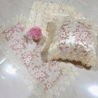 Sarung Bantal Kursi Sofa Set Shabby Chic Bordir 40×40 45×45 50×50 - Peach/Pink