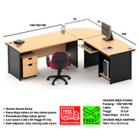 Meja Kerja Kantor Bentuk Model L Meja Komputer Gaming Tahan Air Panas