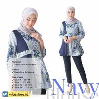 Baju Atasan Wanita Blouse Kombinasi Modern   Ready Size M L XL XXL - Navy, M